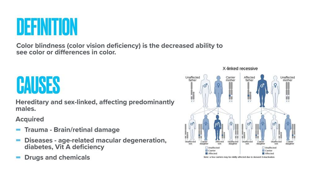 DEFINITION Color blindness (color vision deficie...