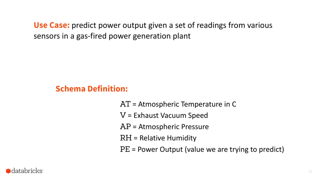 Use Case: predict power output given a set of r...