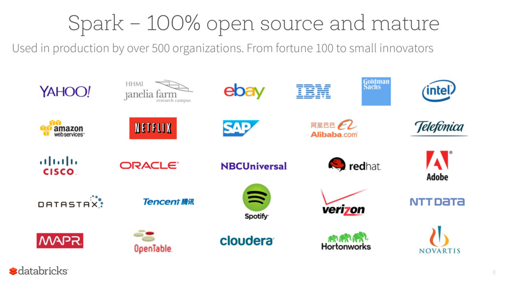 Spark – 100% open source and mature Used in pro...