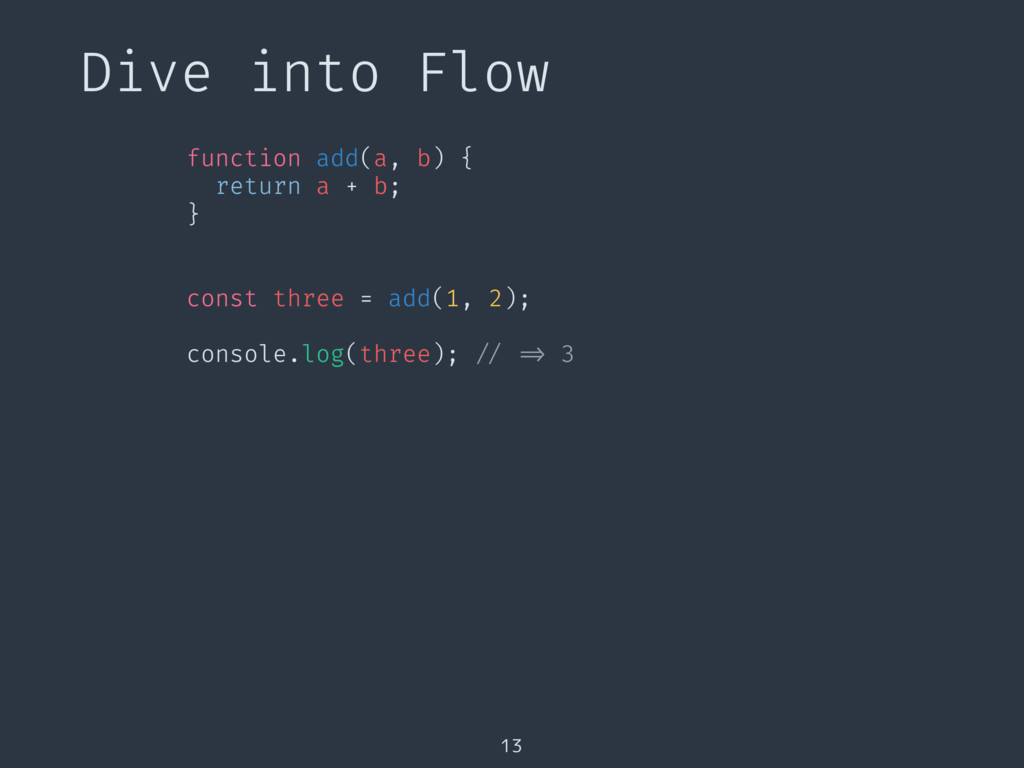 Dive into Flow 13 function add(a, b) { return a...