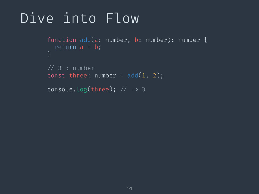 Dive into Flow 14 function add(a: number, b: nu...