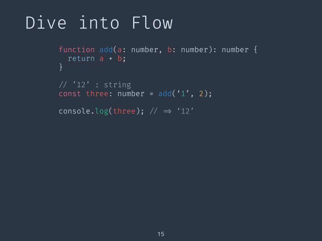 Dive into Flow 15 function add(a: number, b: nu...