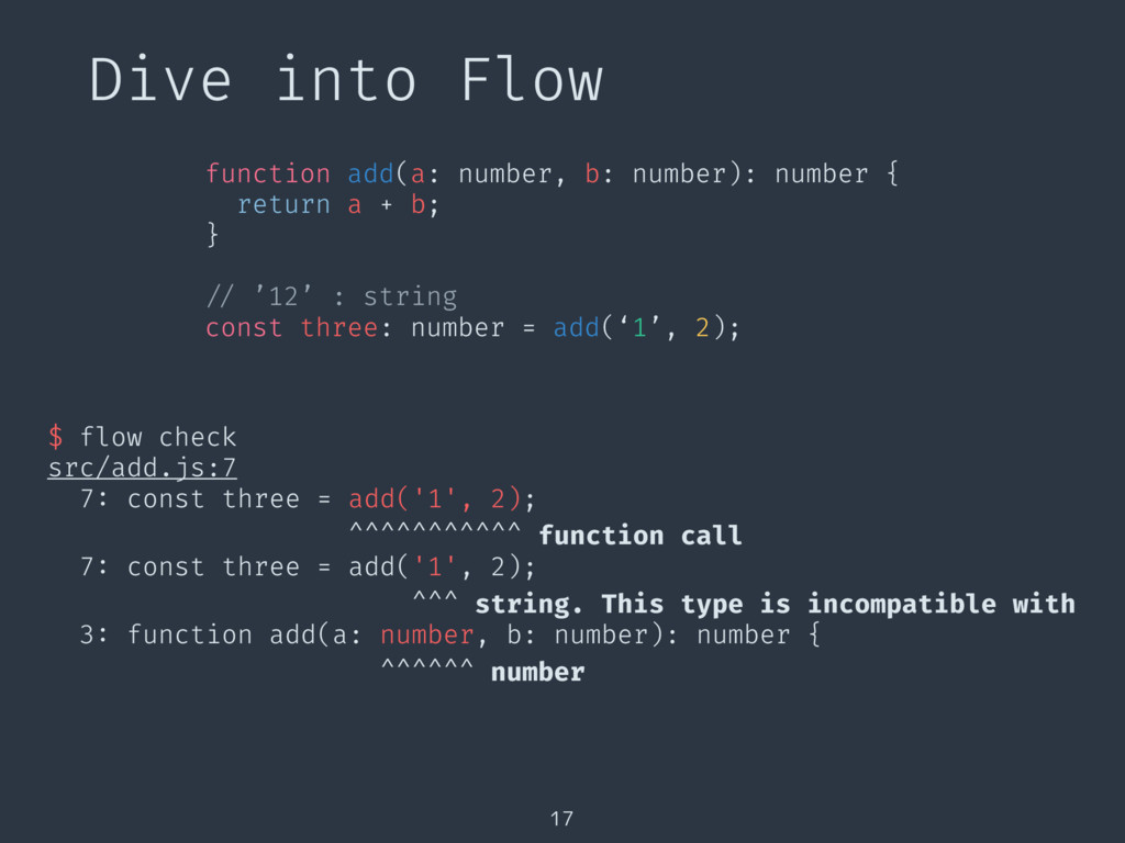 Dive into Flow 17 $ flow check src/add.js:7 7: ...