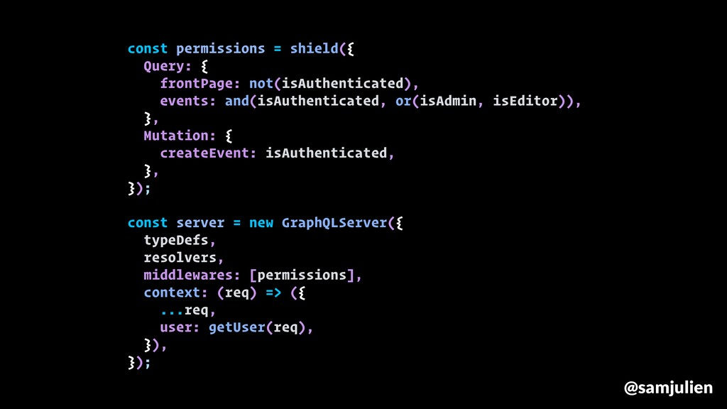 const permissions = shield({ Query: { frontPage...