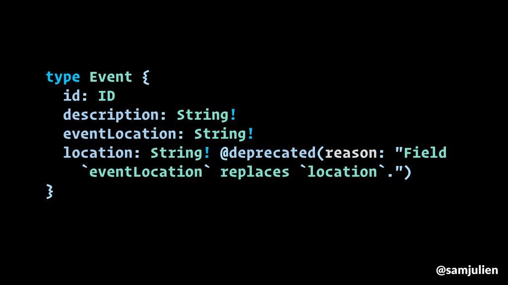 type Event { id: ID description: String! eventL...