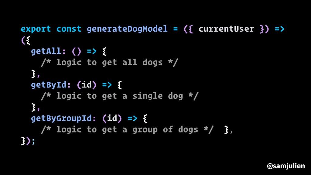 export const generateDogModel = ({ currentUser ...