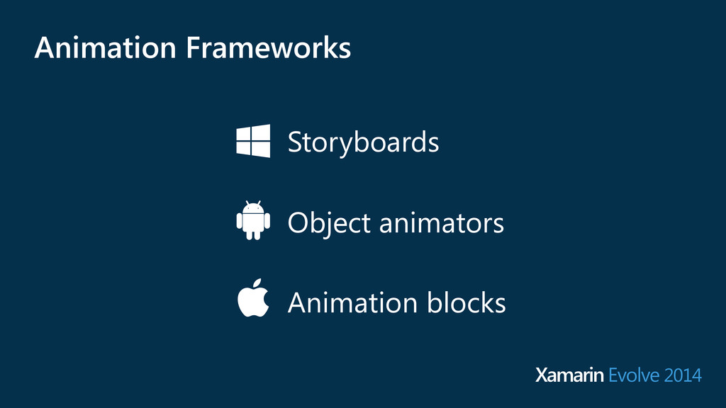 Storyboards Object animators Animation blocks A...