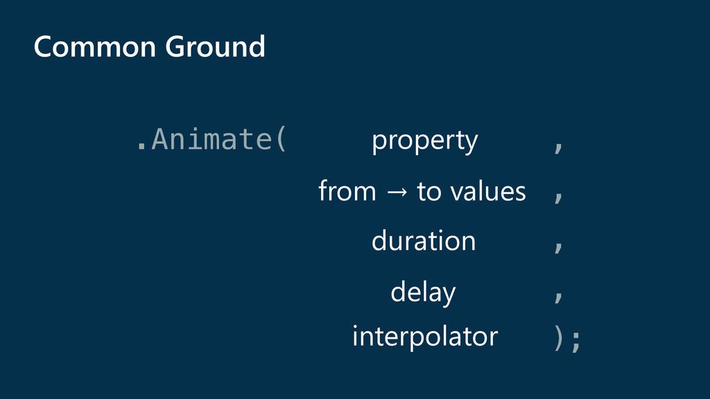 .Animate( , , , , ); property from → to values ...