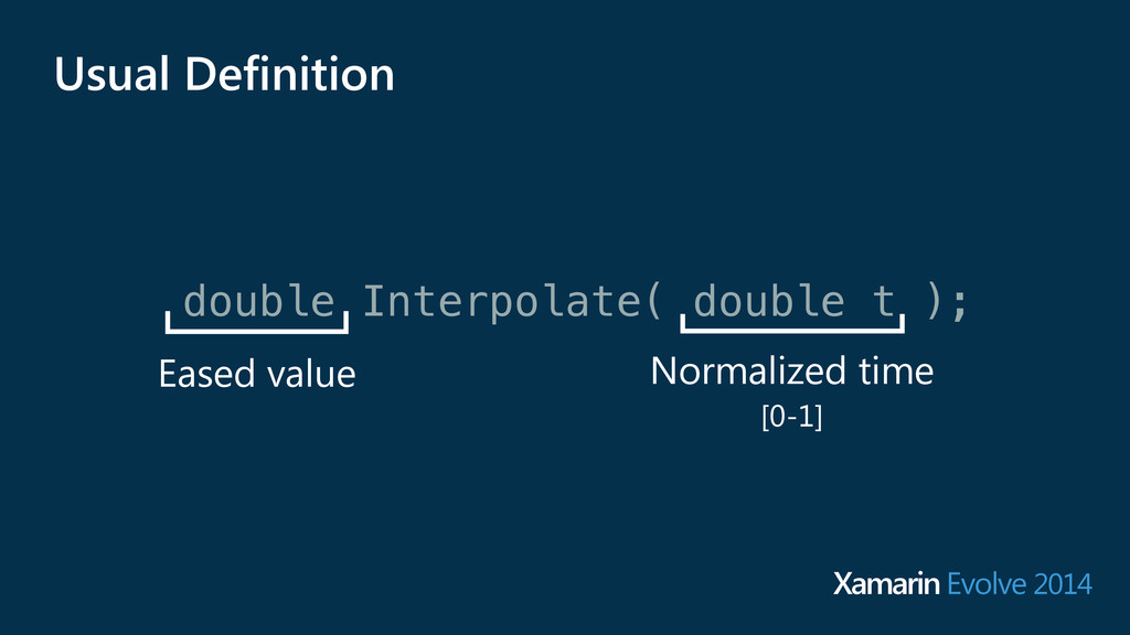double Interpolate( double t ); Eased value Nor...