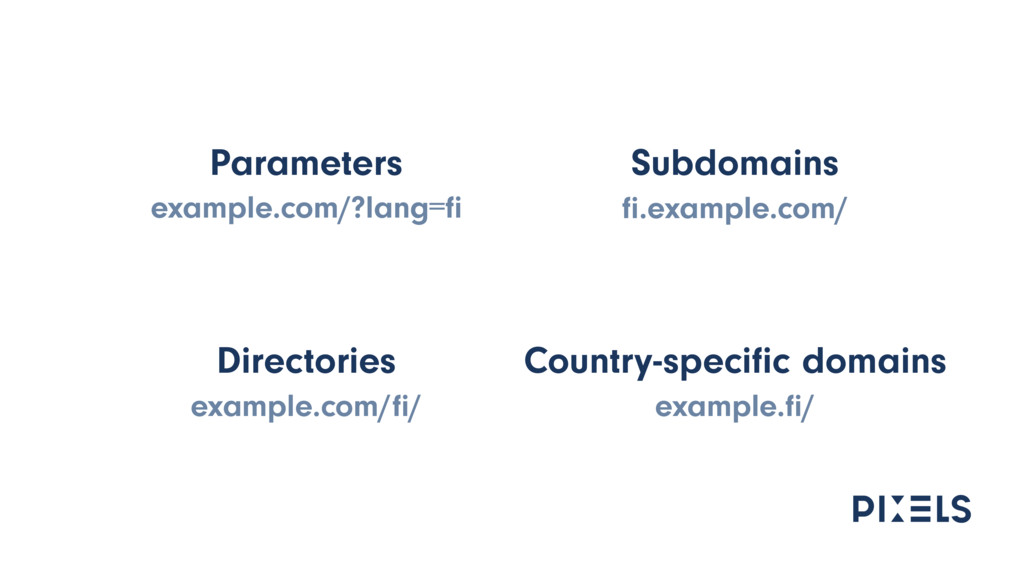 Parameters example.com/?lang=fi Subdomains fi.exa...