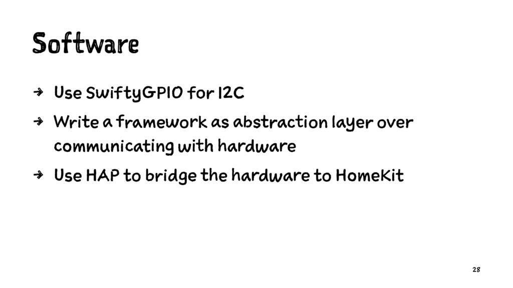 Software 4 Use SwiftyGPIO for I2C 4 Write a fra...