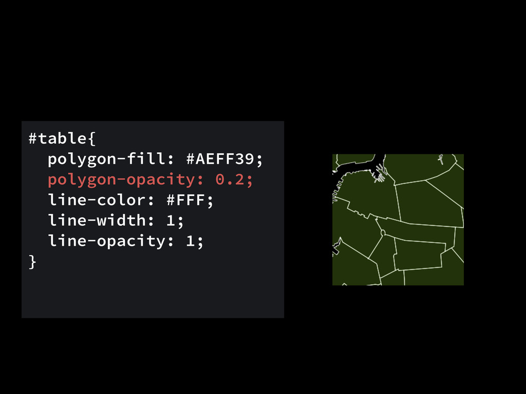 #table{ polygon-fill: #AEFF39; polygon-opacity:...