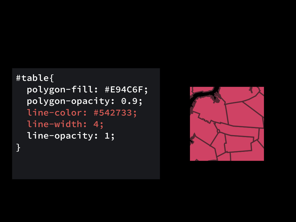 #table{ polygon-fill: #E94C6F; polygon-opacity:...