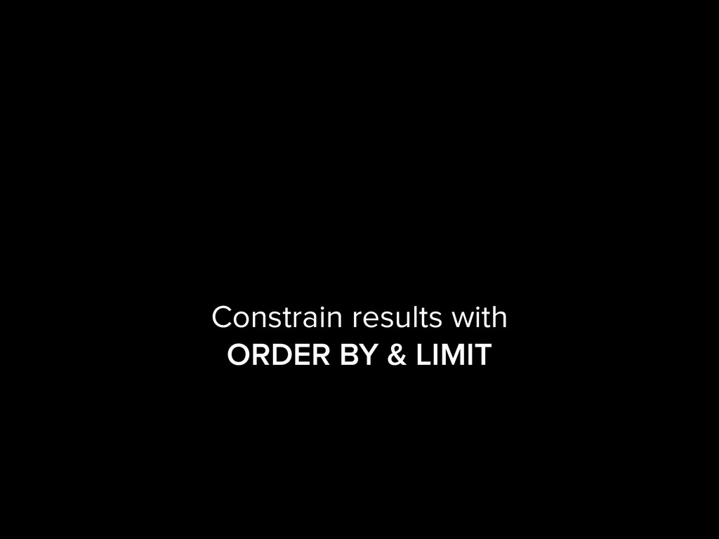 Constrain results with ORDER BY & LIMIT