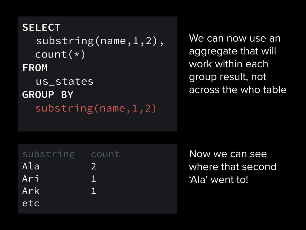 We can now use an aggregate that will work with...