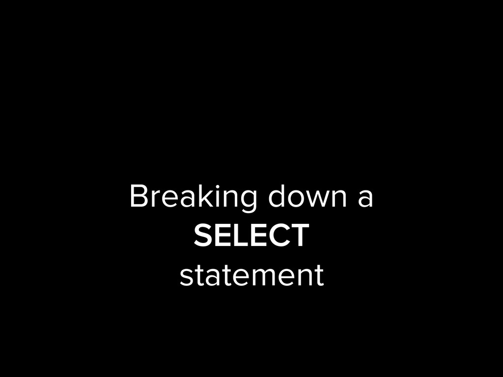 Breaking down a SELECT statement