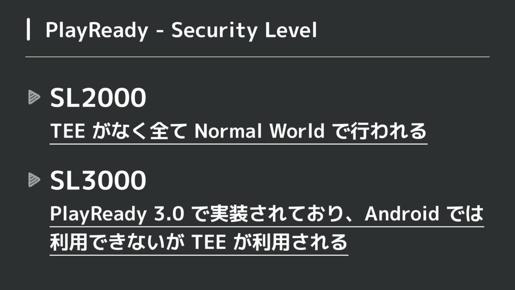 SL2000 TEE がなく全て Normal World で行われる SL3000 Pl...