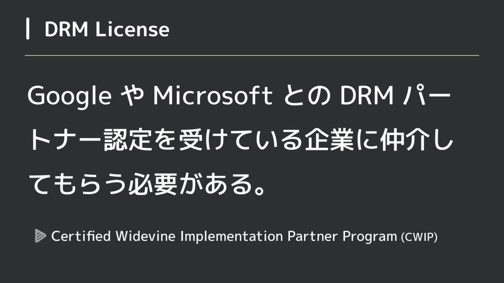 DRM License Google や Microsoft との DRM パー トナー認定を...