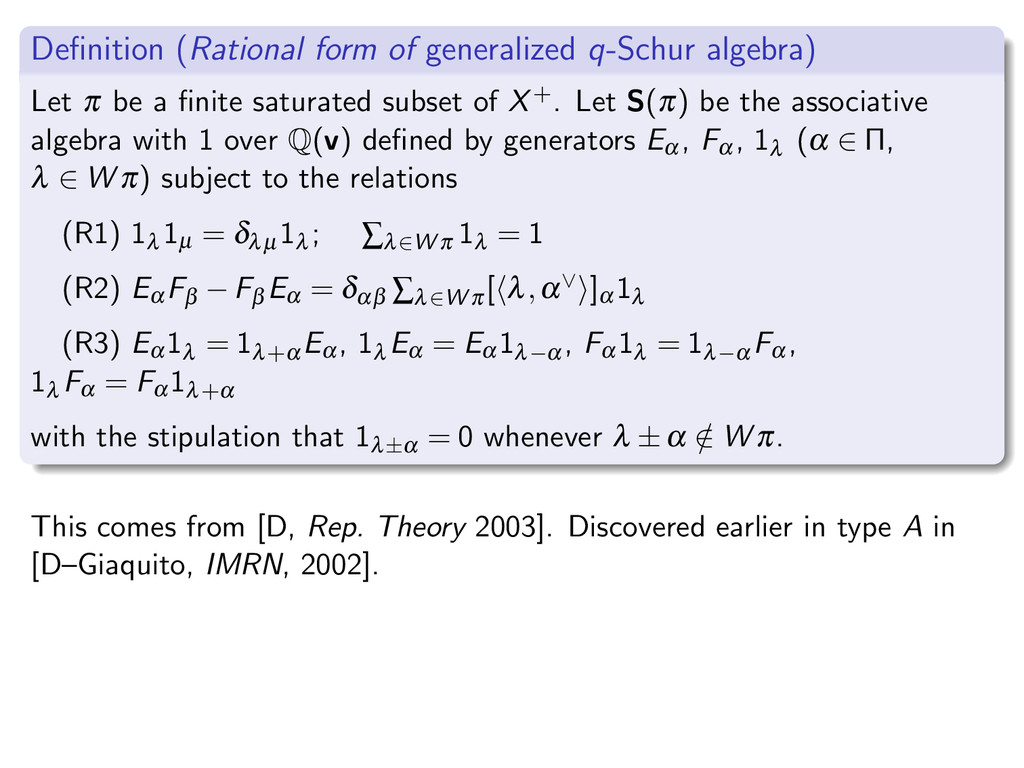 Definition (Rational form of generalized q-Schur...