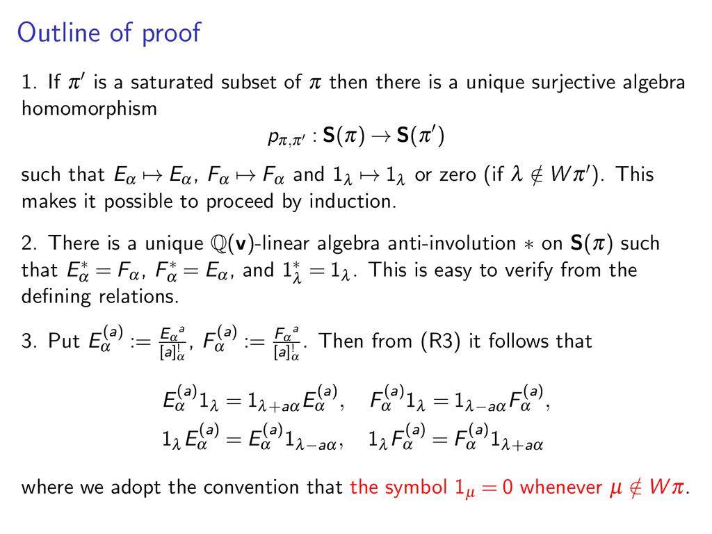 Outline of proof 1. If π is a saturated subset ...
