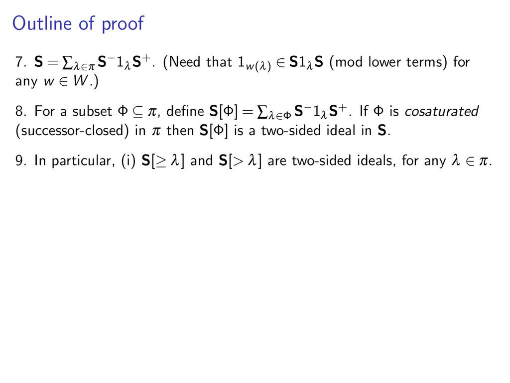 Outline of proof 7. S = ∑λ∈π S−1 λ S+. (Need th...