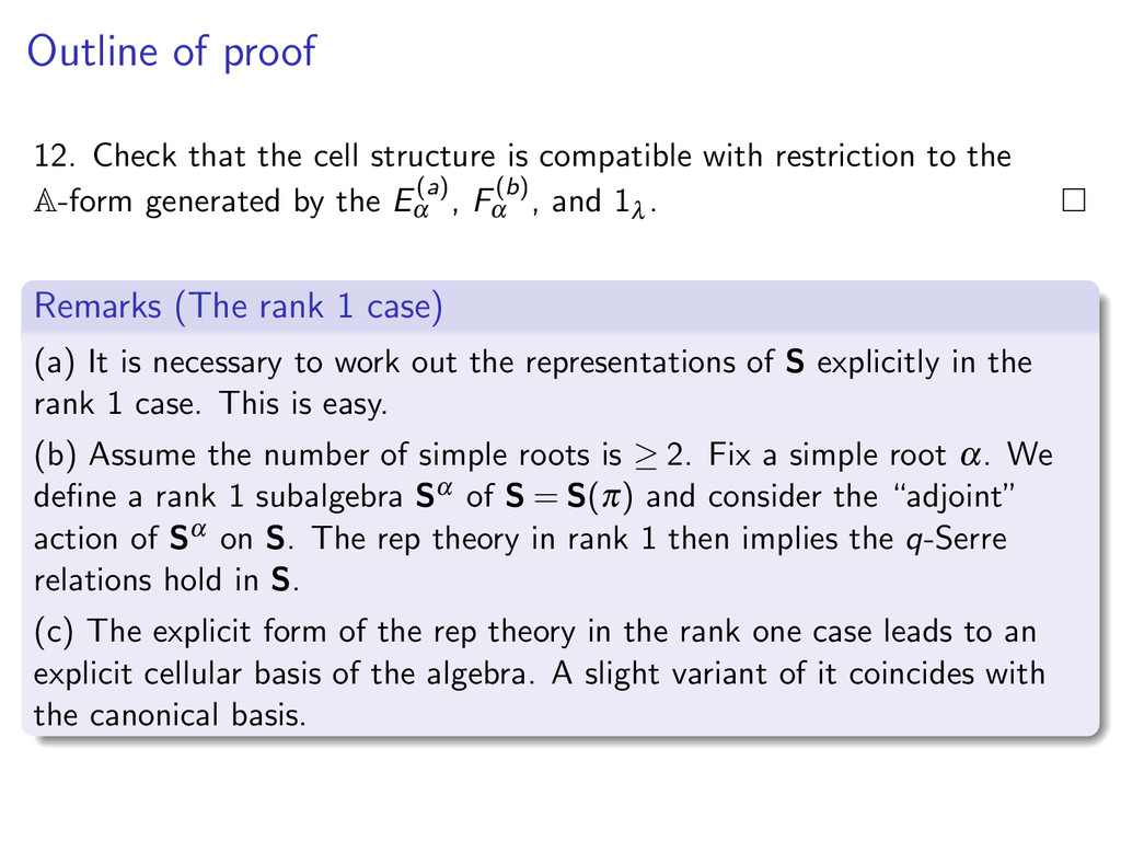 Outline of proof 12. Check that the cell struct...