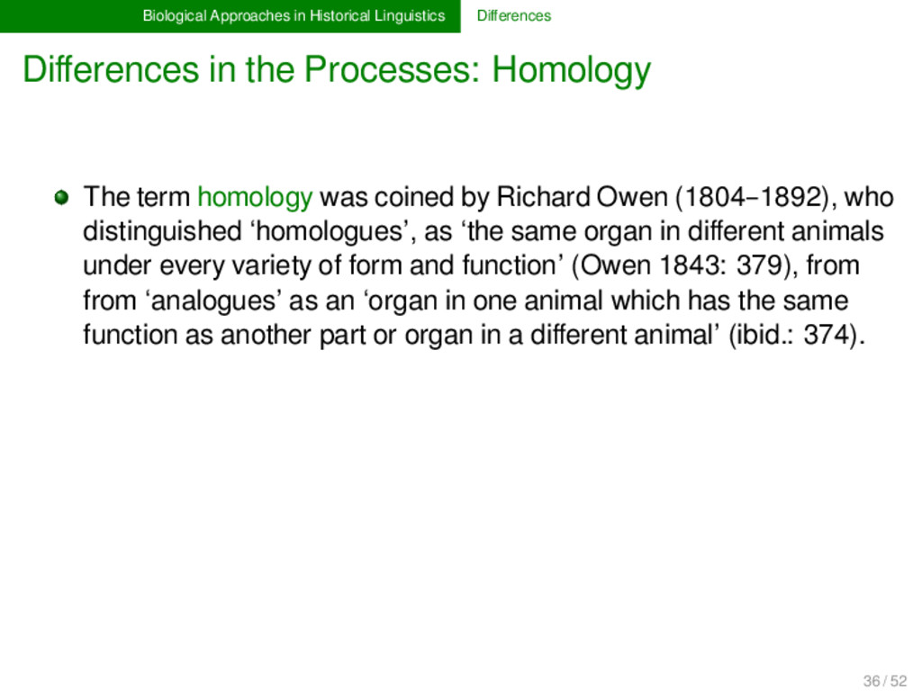 Biological Approaches in Historical Linguistics...