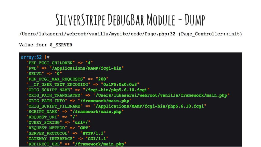 SilverStripe DebugBar Module - Dump