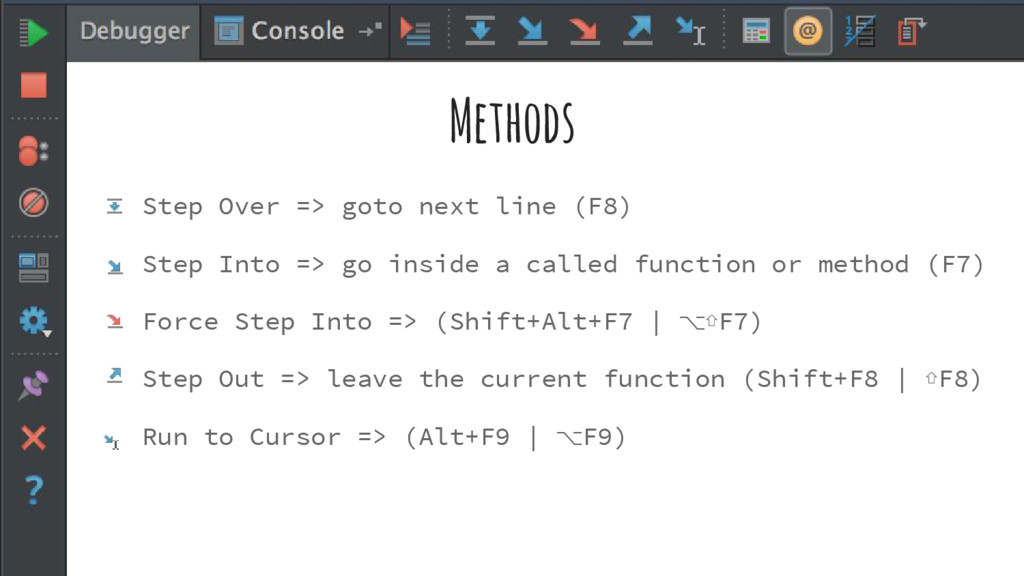 Methods Step Over => goto next line (F8) Step I...