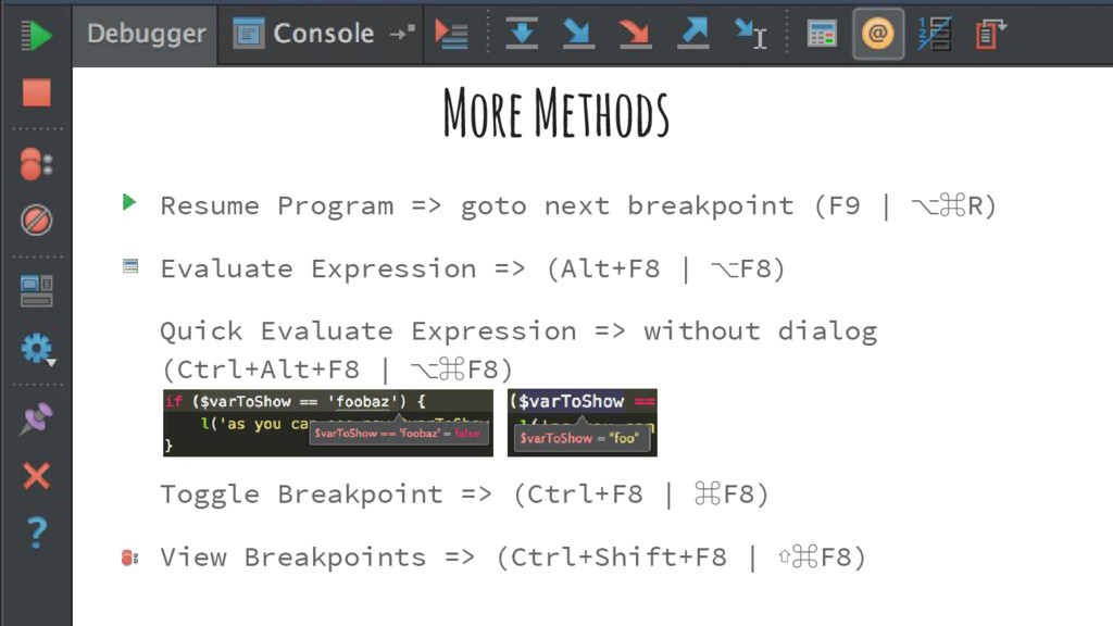 More Methods Resume Program => goto next breakp...