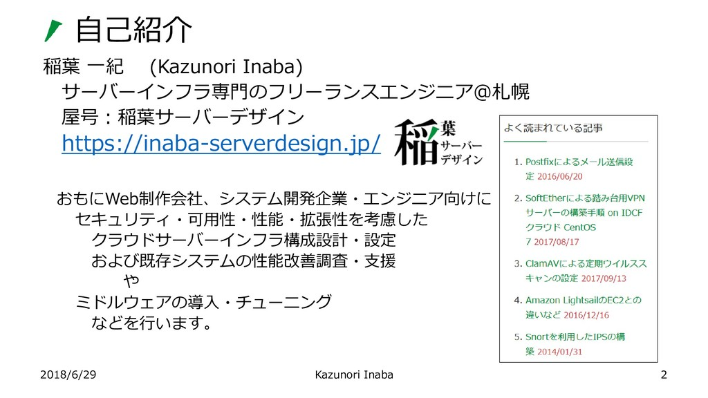 2018/6/29 Kazunori Inaba 稲葉 一紀 (Kazunori Inaba)...
