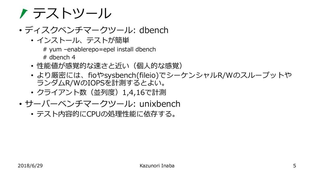 テストツール 2018/6/29 Kazunori Inaba • ディスクベンチマークツール...