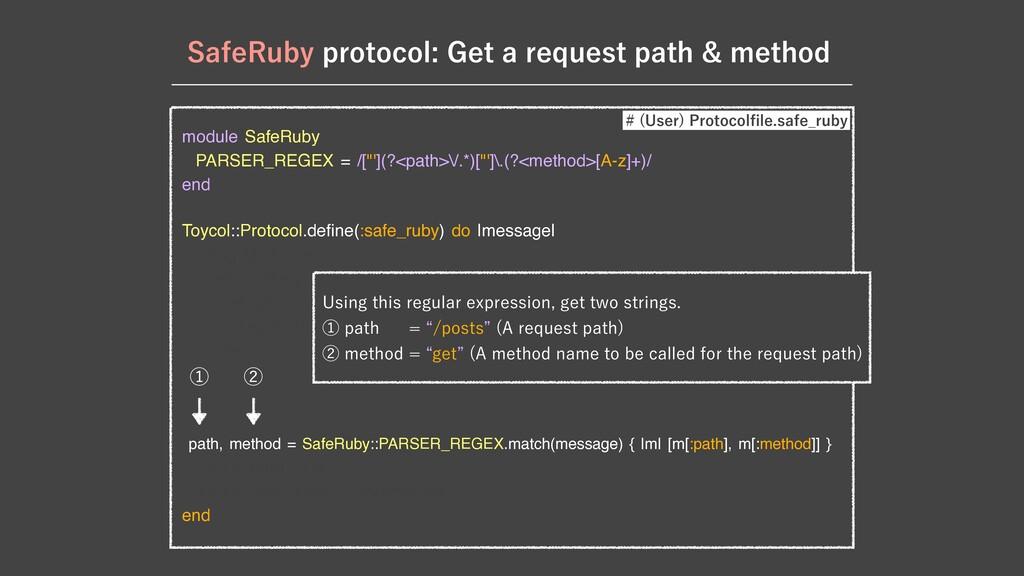 """module SafeRuby  PARSER_REGEX = /[""""'](?<path>\/..."""