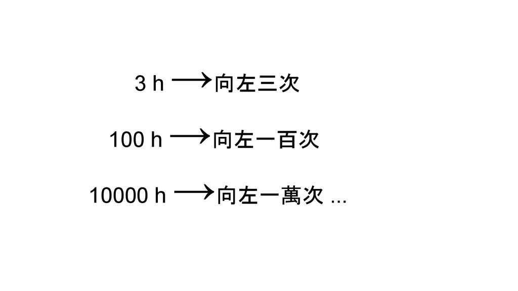 3 h →向左三次 100 h →向左一百次 10000 h →向左一萬次 ...