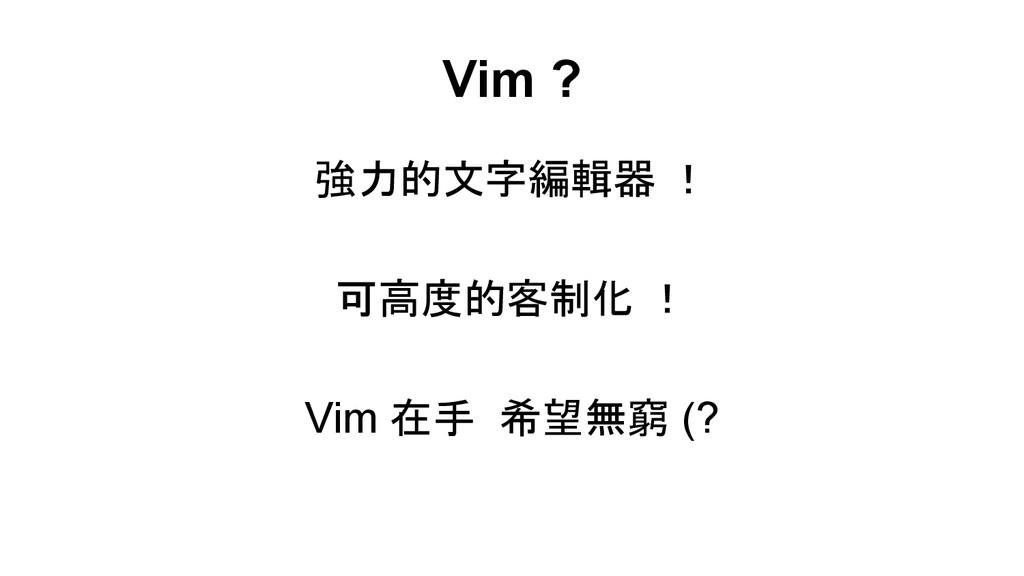 Vim ? 強力的文字編輯器 ! 可高度的客制化 ! Vim 在手 希望無窮 (?