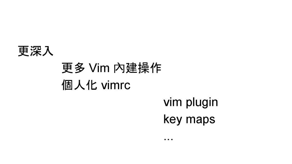 更深入 更多 Vim 內建操作 個人化 vimrc vim plugin key maps ....