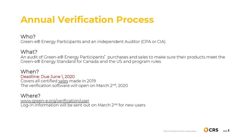 Annual Verification Process PAGE 3 © 2020 Cente...