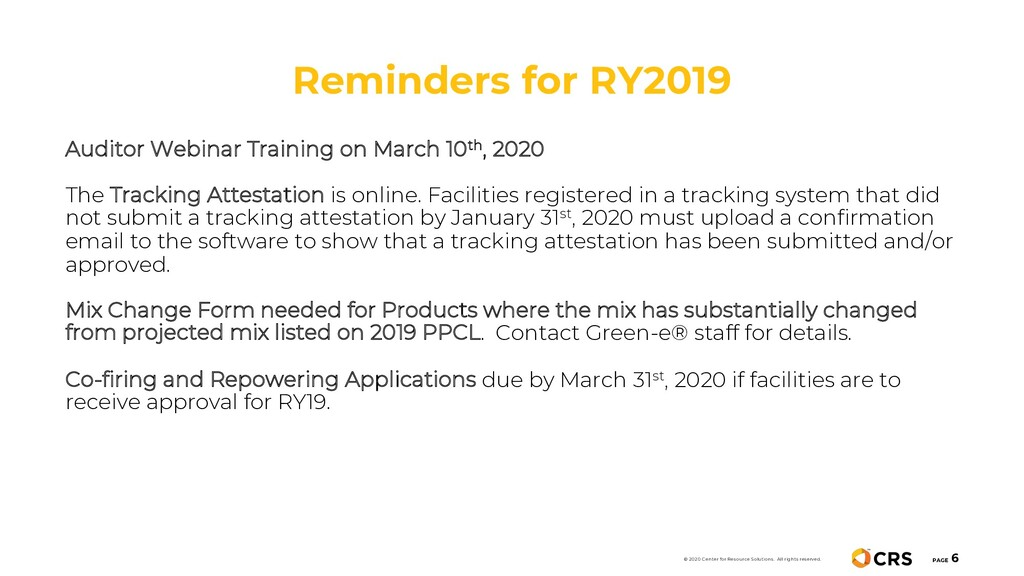 Reminders for RY2019 PAGE 6 © 2020 Center for R...