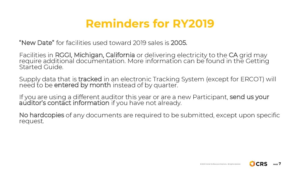 Reminders for RY2019 PAGE 7 © 2020 Center for R...