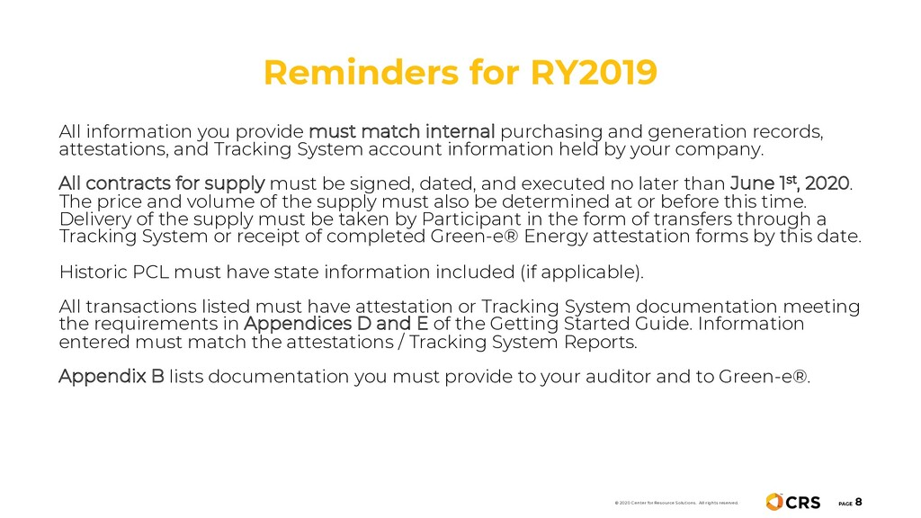 Reminders for RY2019 PAGE 8 © 2020 Center for R...