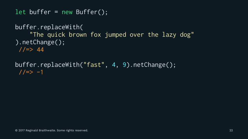 let buffer = new Buffer(); buffer.replaceWith( ...
