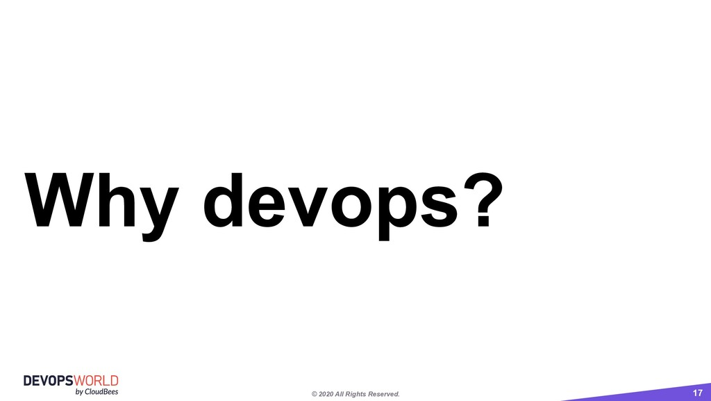 © 2020 All Rights Reserved. 17 Why devops?