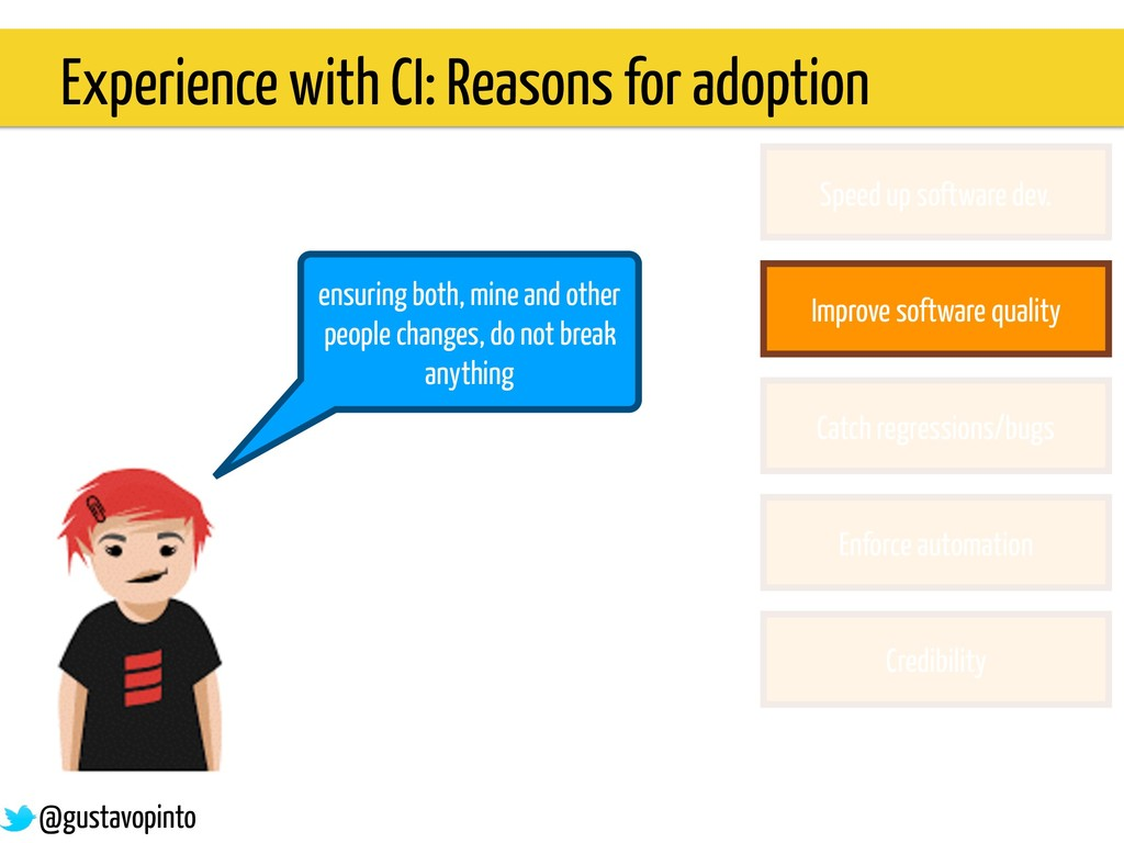 Experience with CI: Reasons for adoption ensuri...