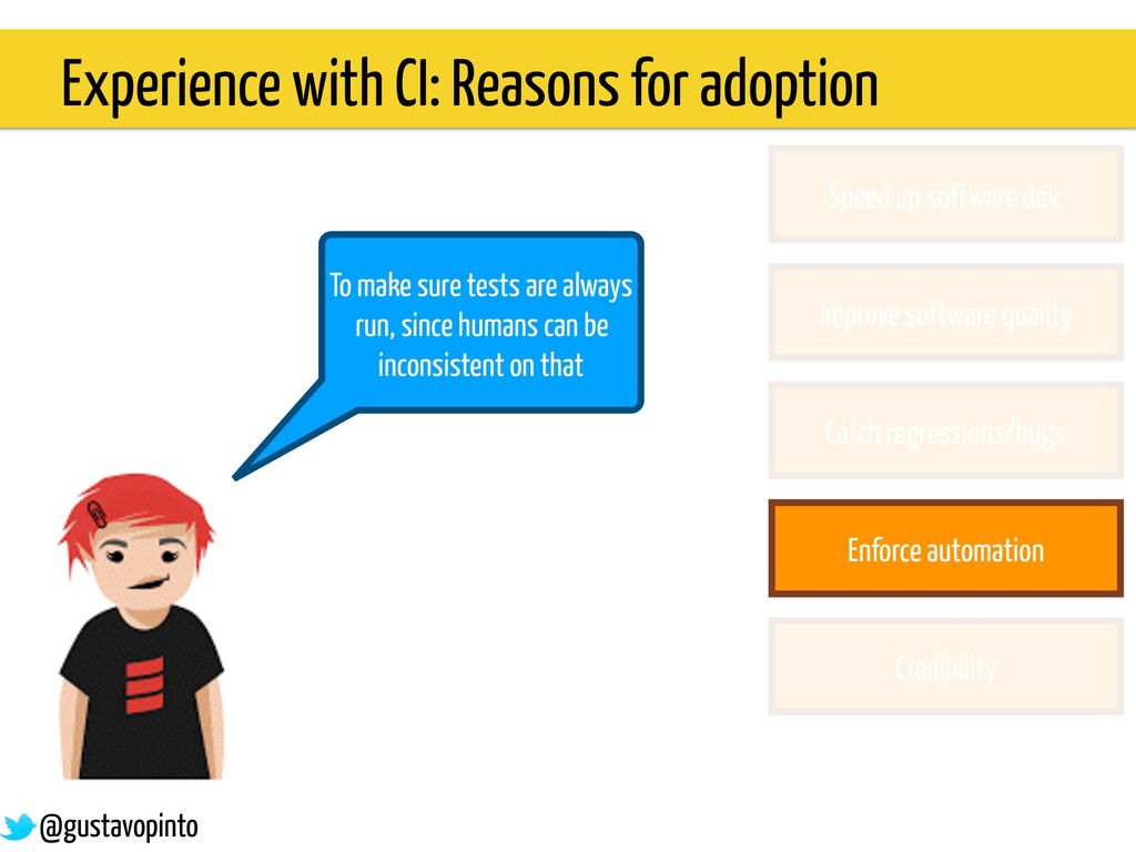 Experience with CI: Reasons for adoption To mak...