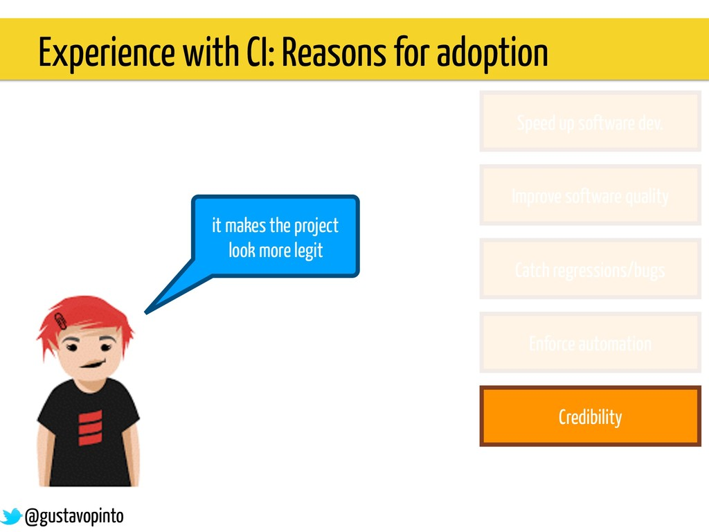 Experience with CI: Reasons for adoption it mak...