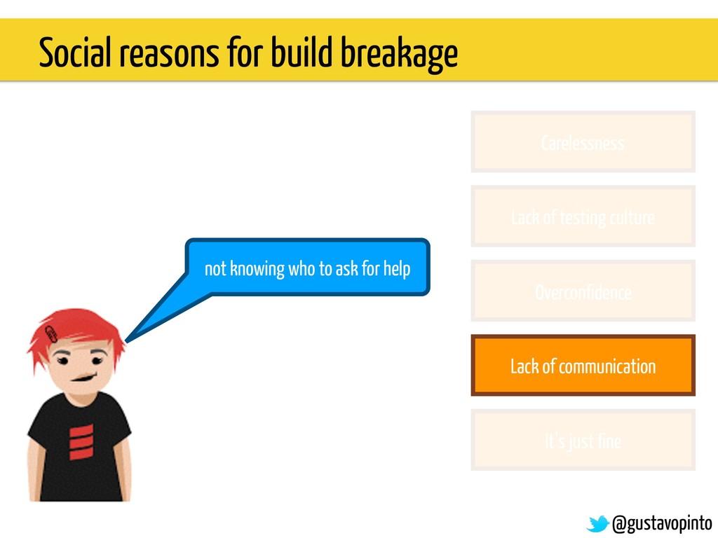 Social reasons for build breakage Carelessness ...