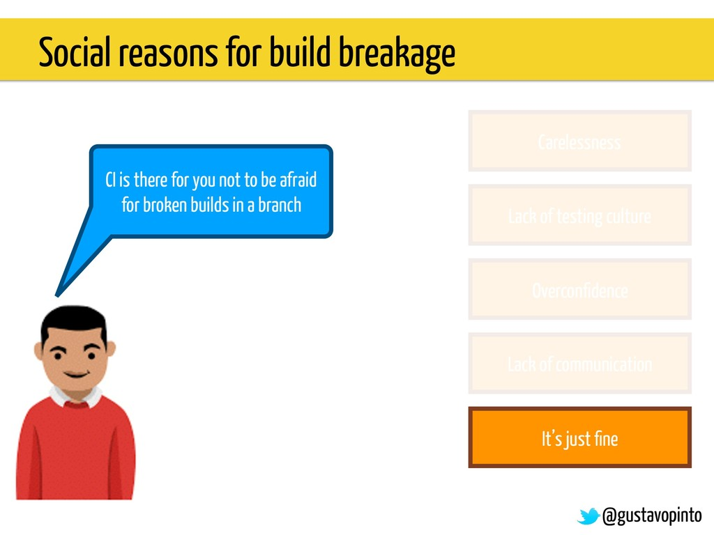 Social reasons for build breakage @gustavopinto...