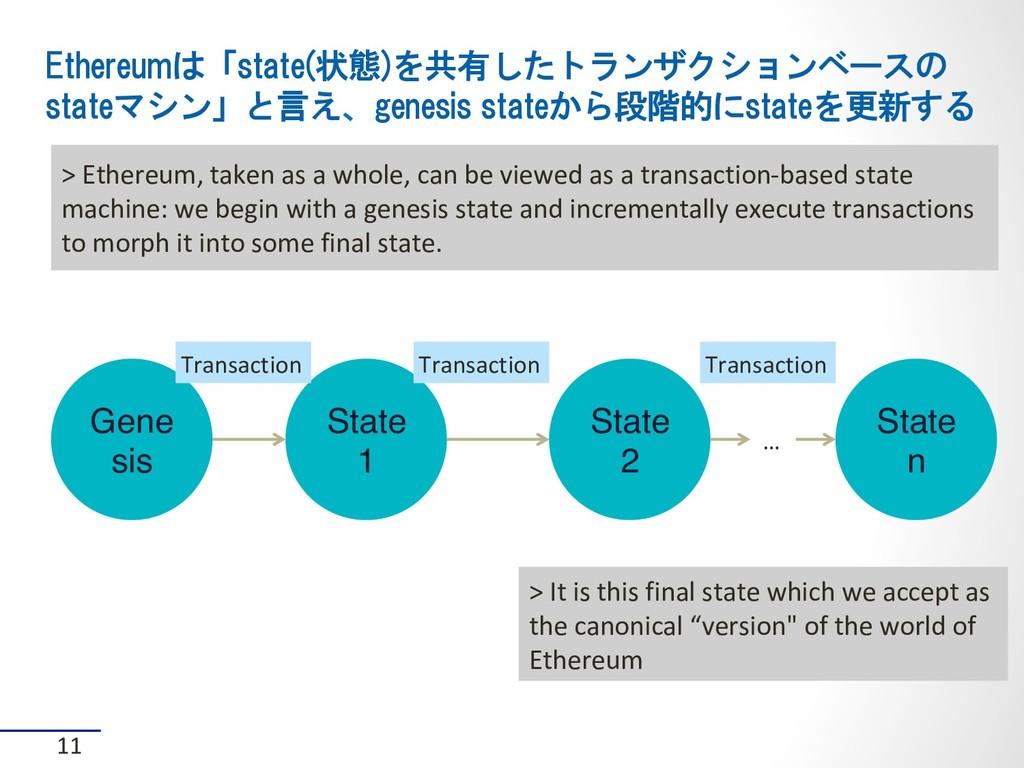Ethereumは「state(状態)を共有したトランザクションベースの stateマシン」と...