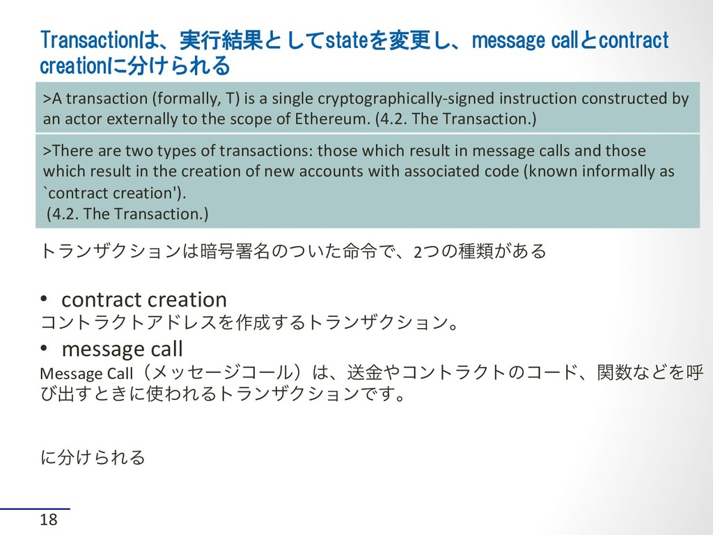 Transactionは、実行結果としてstateを変更し、message callとcont...