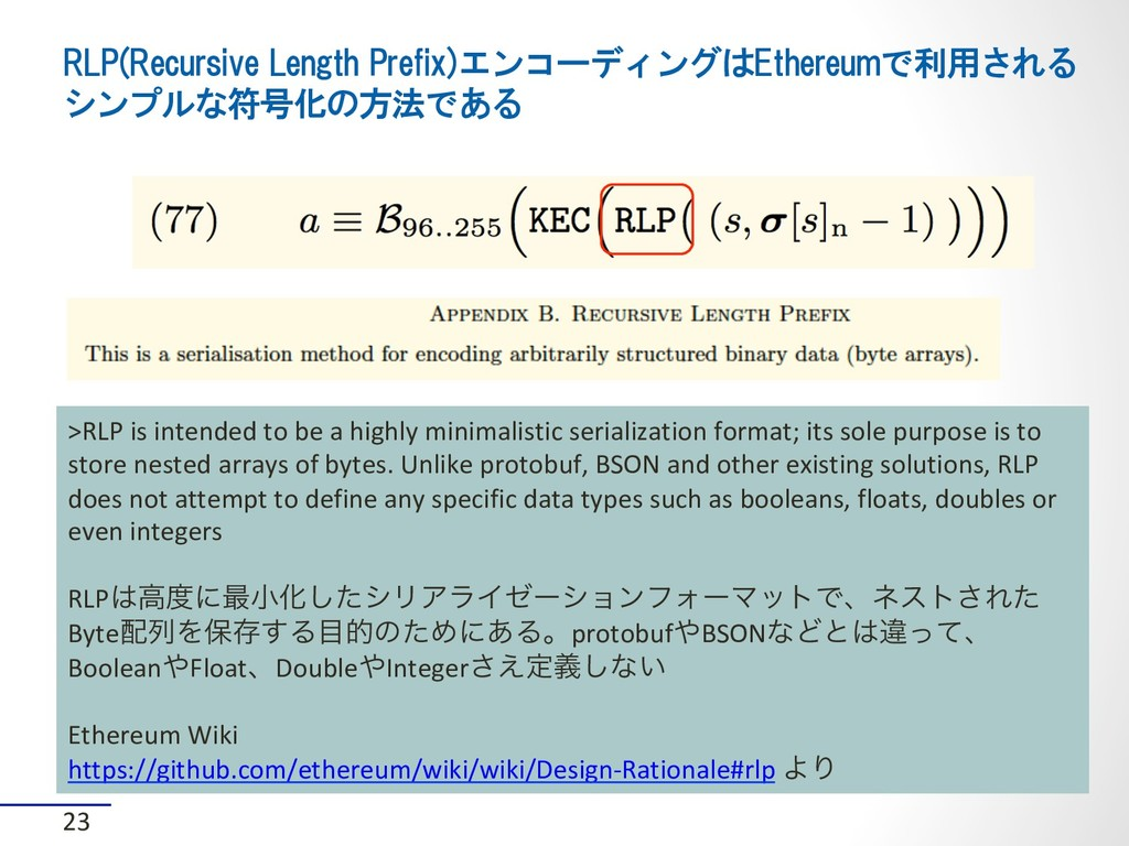 RLP(Recursive Length Prefix)エンコーディングはEthereumで利...